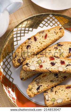 Italian cantucci with pistachio and almonds. - stock photo
