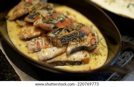 Italian catering table set service - stock photo