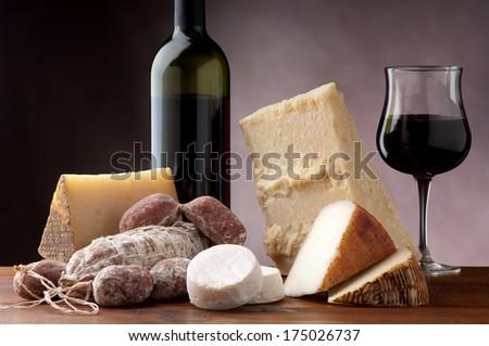 italian cheese salami and red wine - stock photo