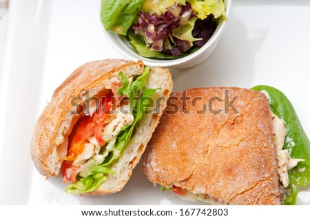 italian ciabatta panini sandwich with chicken and tomato - stock photo