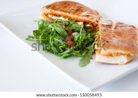 italian ciabatta panini sandwich with chicken and tomato on a white plate - stock photo