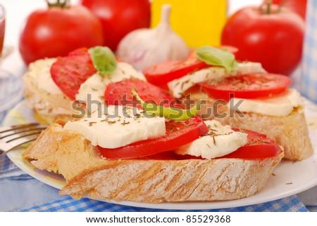 italian crostini bread with mozzarella and tomato for diet breakfast - stock photo