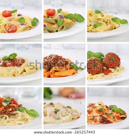 Italian cuisine collection of spaghetti pasta noodles food meals with tomatoes and basil - stock photo