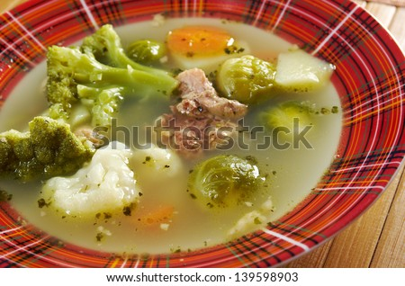 italian  farm-style country vegetables  soup with broccoli - stock photo