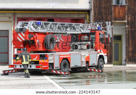 italian fire truck of firefighter during during an emergency - stock photo