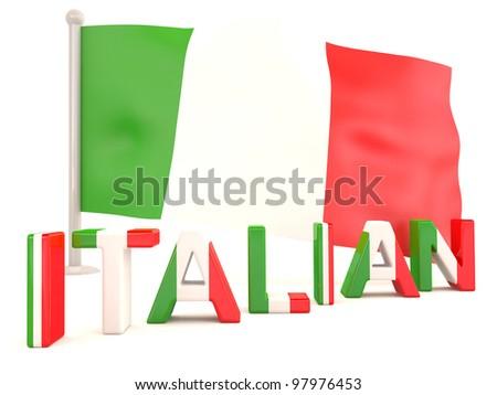 Italian flag. 3D model isolated on white background - stock photo