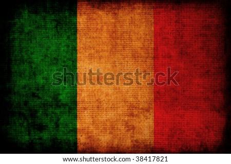 Italian flag:grunge style - stock photo