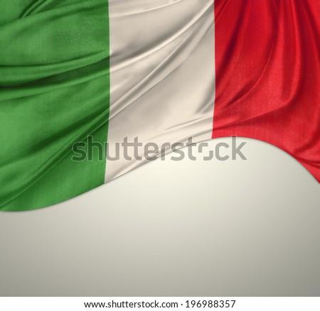 Italian flag on plain background - stock photo