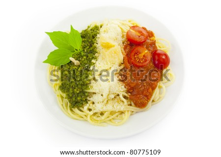 Italian flag - pasta with green pesto, white parmesan and red tomatoes / isolated on white - stock photo