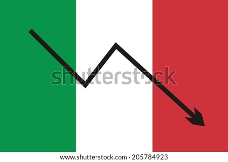 Italian flag with economic falling graph  - stock photo