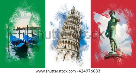 Italian flag with famous italian attractions - stock photo
