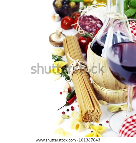 Italian food and wine. Ingredients for cooking (pasta, salami, tomatoe, garlic, pepper, mushroom, bay leaves, olives, olive oil, basil)  over white - stock photo