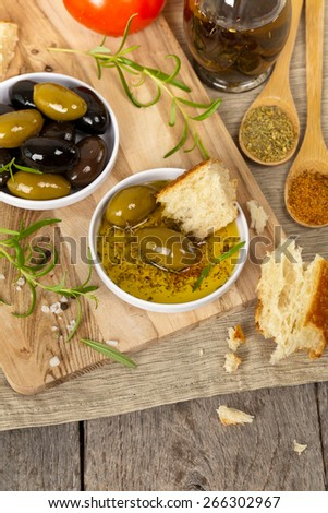 Italian food appetizer bread and olive oil. Selective focus. - stock photo