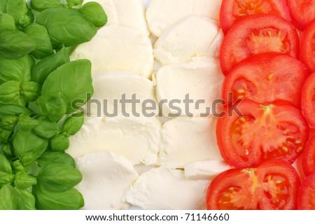 Italian food ingredients forming the italian flag - stock photo