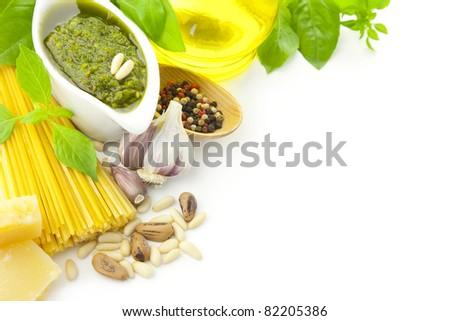 Italian food / pesto and pasta / border composition - stock photo