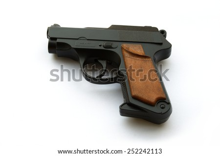 Italian Handgun, semi-automatic on white - stock photo