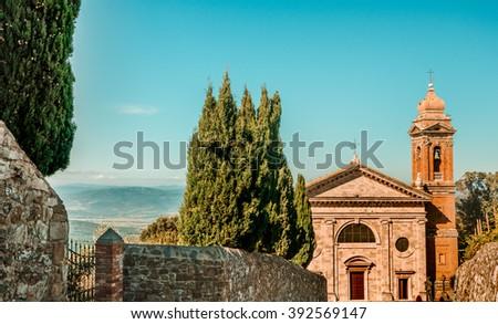 Italian heritage - Church of the Madonna del Soccorso in Montalcino, Province of Siena, Tuscany, Italy. - stock photo