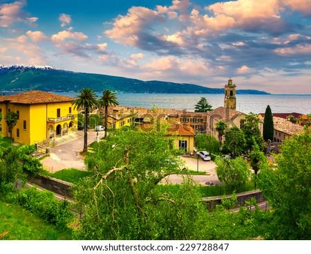 Italian lake houses with stunning view on Lake Garda, Gargnano, Lombardy, Italy - stock photo