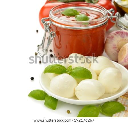 Italian mozzarella cheese on a white background - stock photo