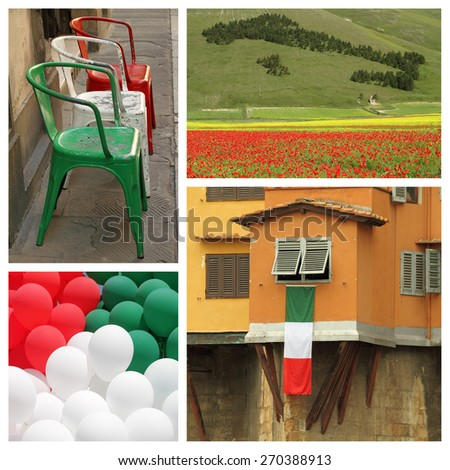 italian national patriotic collage  - stock photo
