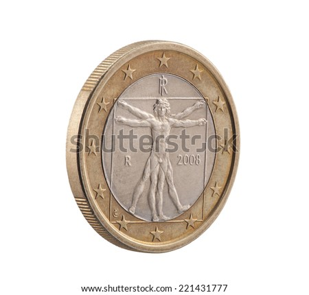 Italian One Euro with Vitruvian Man. Clipping path included. - stock photo