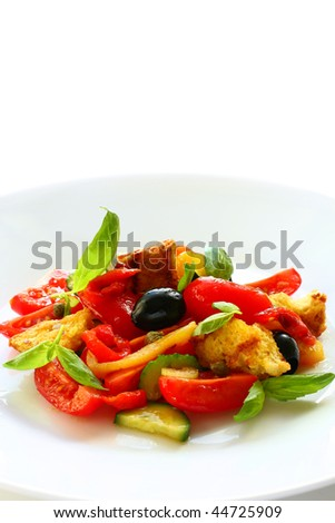 Tomato Panzanella Salad Stock Photos, Illustrations, and Vector Art