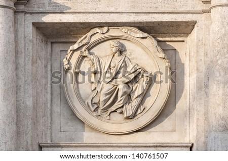 Italian Parliament building facade detail in Rome, Italy - stock photo