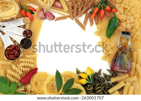 Italian pasta and mediterranean food ingredients forming an abstract border over white background. - stock photo