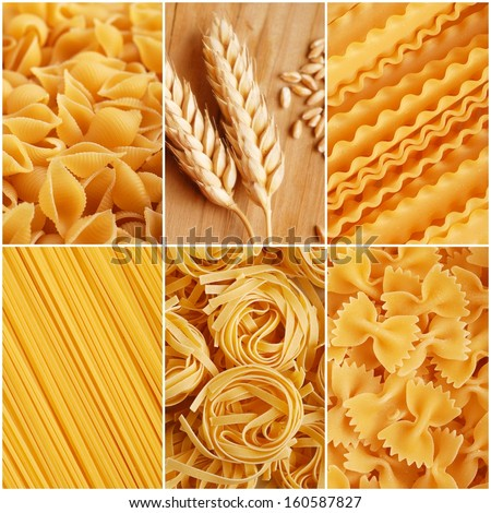 italian pasta collage made from six photography - stock photo