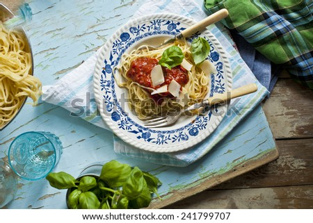 Italian pasta dish with tomato sauce - stock photo