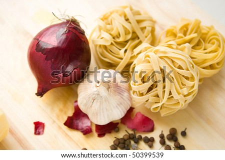 italian pasta ingredients - stock photo