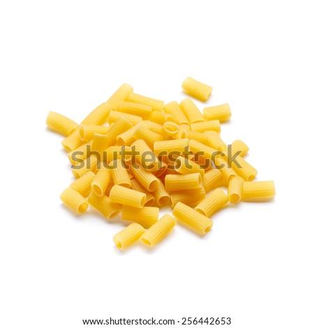 Italian pasta Rigatoni isolated on white background - stock photo