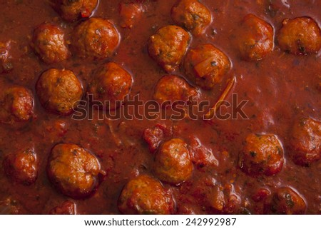 Italian pasta sauce with meatballs for background use - stock photo
