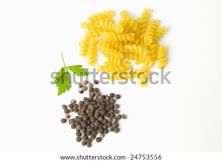 Italian Pasta  with black pepper and parsley - stock photo