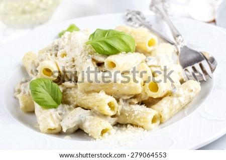 Italian pasta with cheese sauce - Rigatoni al Gorgonzola - stock photo