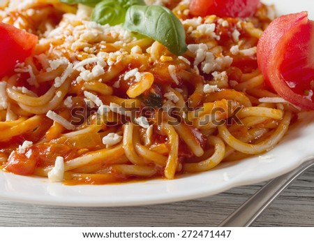 Italian pasta with sauce and parmesan cheese - stock photo