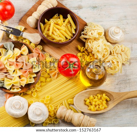 Italian pasta with tomatoes and mushrooms - stock photo