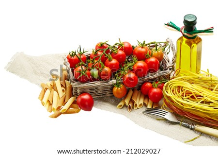 Italian Pasta with tomatoes, olive oil  on a white background isolated - stock photo