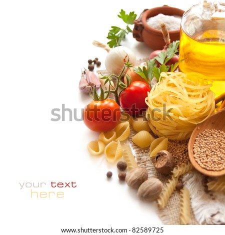 Italian Pasta with tomatoes, spices and oil - stock photo