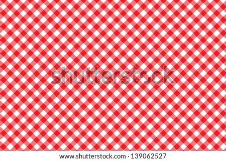 Italian picnic tablecloth with red pattern - stock photo