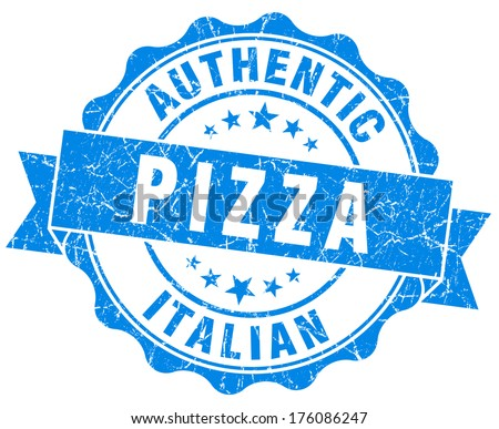 italian pizza blue grunge stamp - stock photo