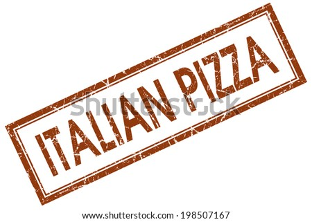 Italian pizza brown square grungy stamp isolated on white background - stock photo