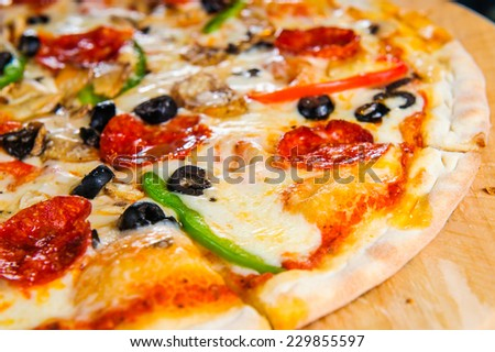 Italian pizza close up view. - stock photo