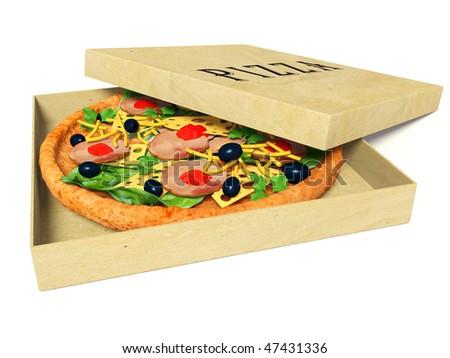 italian pizza in paper box - stock photo