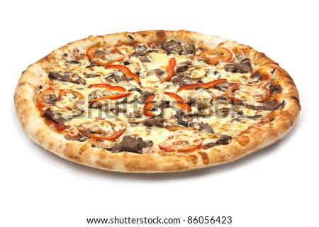 Italian pizza isolate on a white background - stock photo