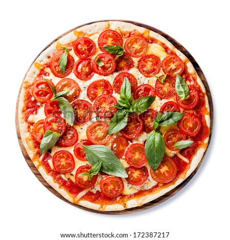 Italian pizza with cherry tomatoes and green basil on white background - stock photo