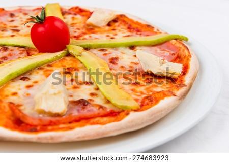 Italian pizza with vegetavles - stock photo