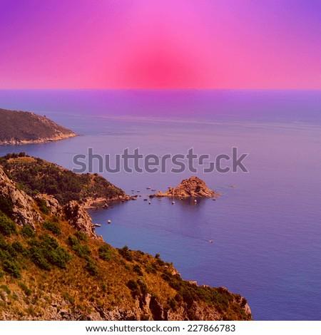 Italian Seascape at Sunset - stock photo