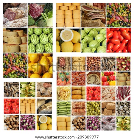 italian slow food collage - stock photo