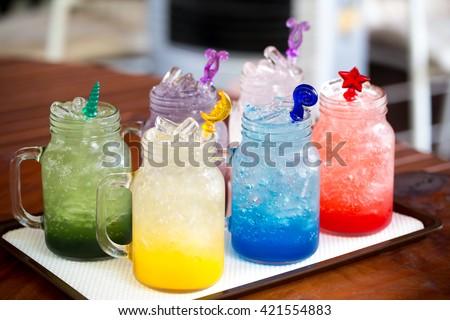 Italian soda, sweet with soda and salt , Italian soda , soda  - stock photo